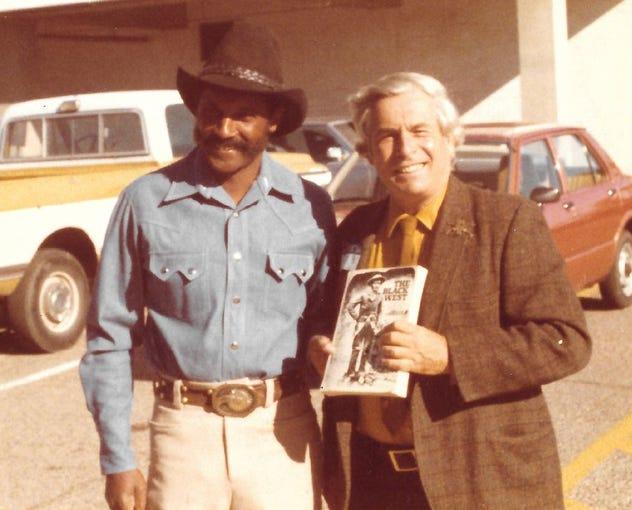 Ed Keeylocko (left) meeting William Katz, author of 'The Black West,' circa 1973.