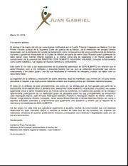 He aquí el comunicado íntegro de la oficina de Juan Gabriel, firmado por el abogado Guillermo Pous.