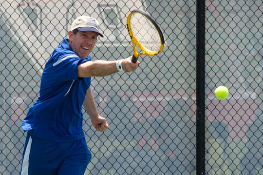 Tom Adimari, a Hudson Valley athlete, plays tennis at a preview Special Olympics Summer Games.