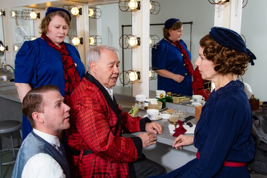 """Emily DePew as Madge, left to right, Lou Trapani as Sir, Kevin Archambault as Norman and Elaine Young as Her Ladyship will perform in the Center for Performing Arts at Rhinebeck's production of """"The Dresser,"""" by Ronald Harwood, opening March 15."""