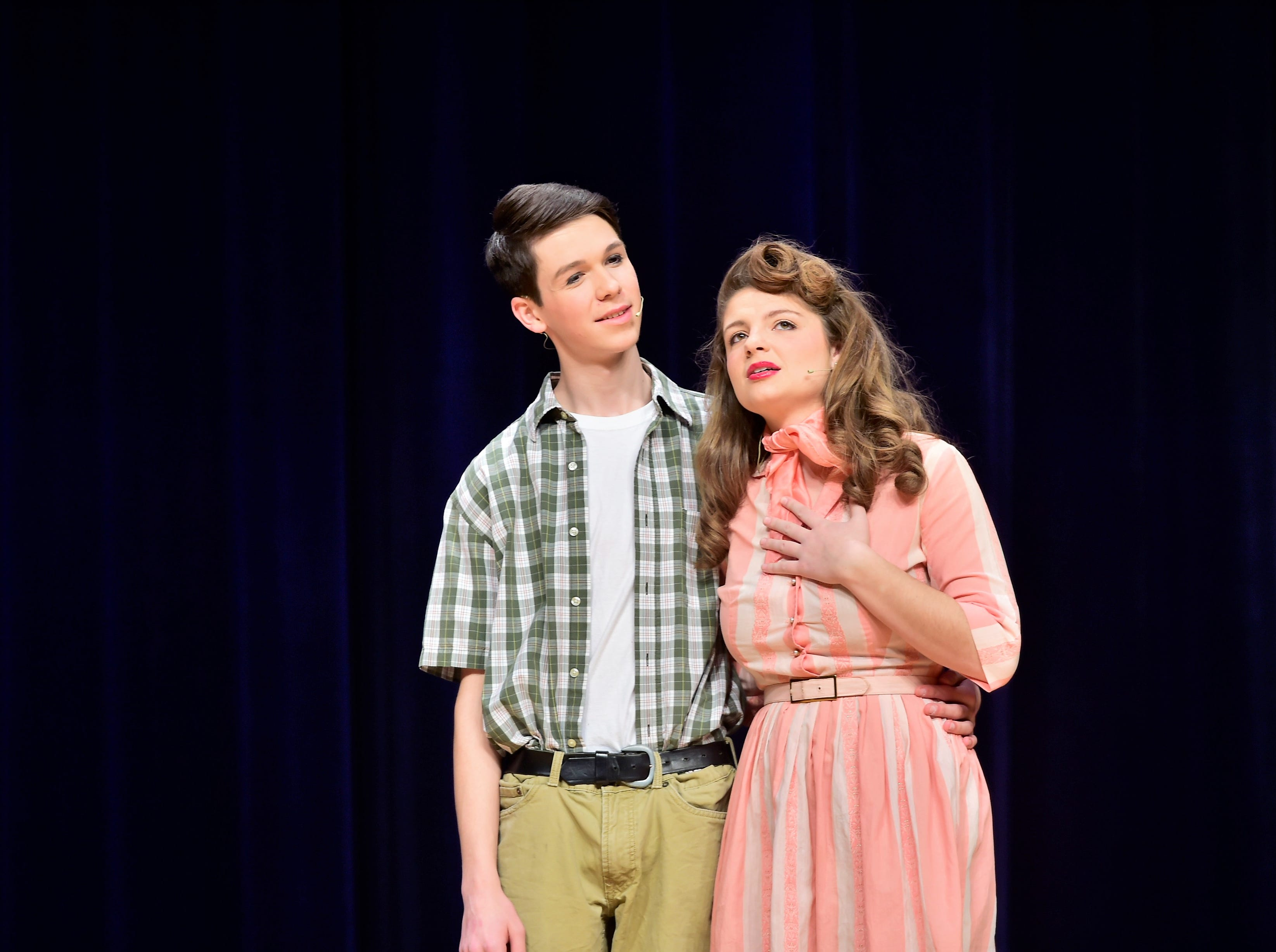 """John Payne (Prez) and Maddie Kohler (Gladys) perform a duet while rehearsing a scene from """"The Pajama Game,"""" on Sunday, March 10, 2019, at Waynesboro Area Senior High School. The musical, based on the 1953 novel, """"7 1/2 Cents"""" by Richard Bissell, tells the story of a pajama factory where workers are fighting for a raise of 7 1/2 cents. Showtimes for Waynesboro Area School District's All-School Production of """"The Pajama Game"""" are 7 p.m. Friday and Saturday, March 15 and 16, and 2 p.m. Sunday, March 17 in the high school auditorium. For tickets, $10 for adults and $6 for children under 12, go to https://washsmusic.ticketleap.com/the-pajama-game/. Tickets will also be sold at the door."""