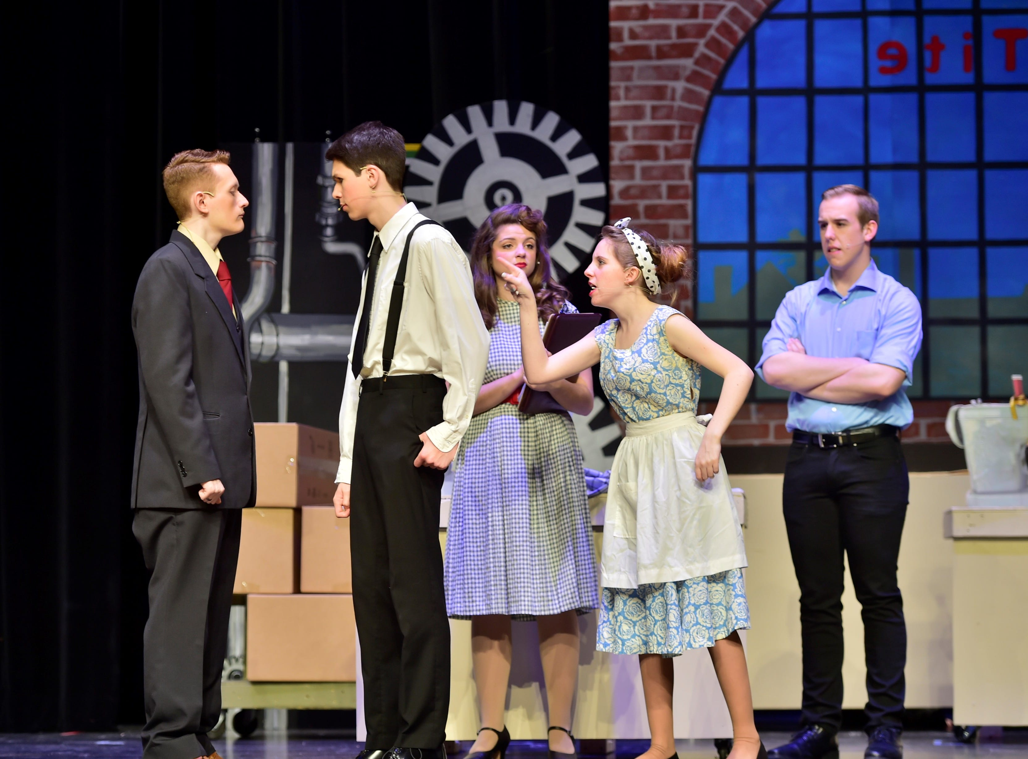 """From left, Daniel Moffat (Hasler), John Payne (Prez), Maddie Kohler (Gladys), Christina Bond (Mae) and Joe Baker (Joe) rehearse a scene from """"The Pajama Game,"""" on Sunday, March 10, 2019, at Waynesboro Area Senior High School. The musical, based on the 1953 novel, """"7 1/2 Cents"""" by Richard Bissell, tells the story of a pajama factory where workers are fighting for a raise of 7 1/2 cents. Showtimes for Waynesboro Area School District's All-School Production of """"The Pajama Game"""" are 7 p.m. Friday and Saturday, March 15 and 16, and 2 p.m. Sunday, March 17 in the high school auditorium. For choose-your-seat tickets, $10 for adults and $6 for children under 12, go to https://washsmusic.ticketleap.com/the-pajama-game/. General admission tickets will also be sold at the door."""