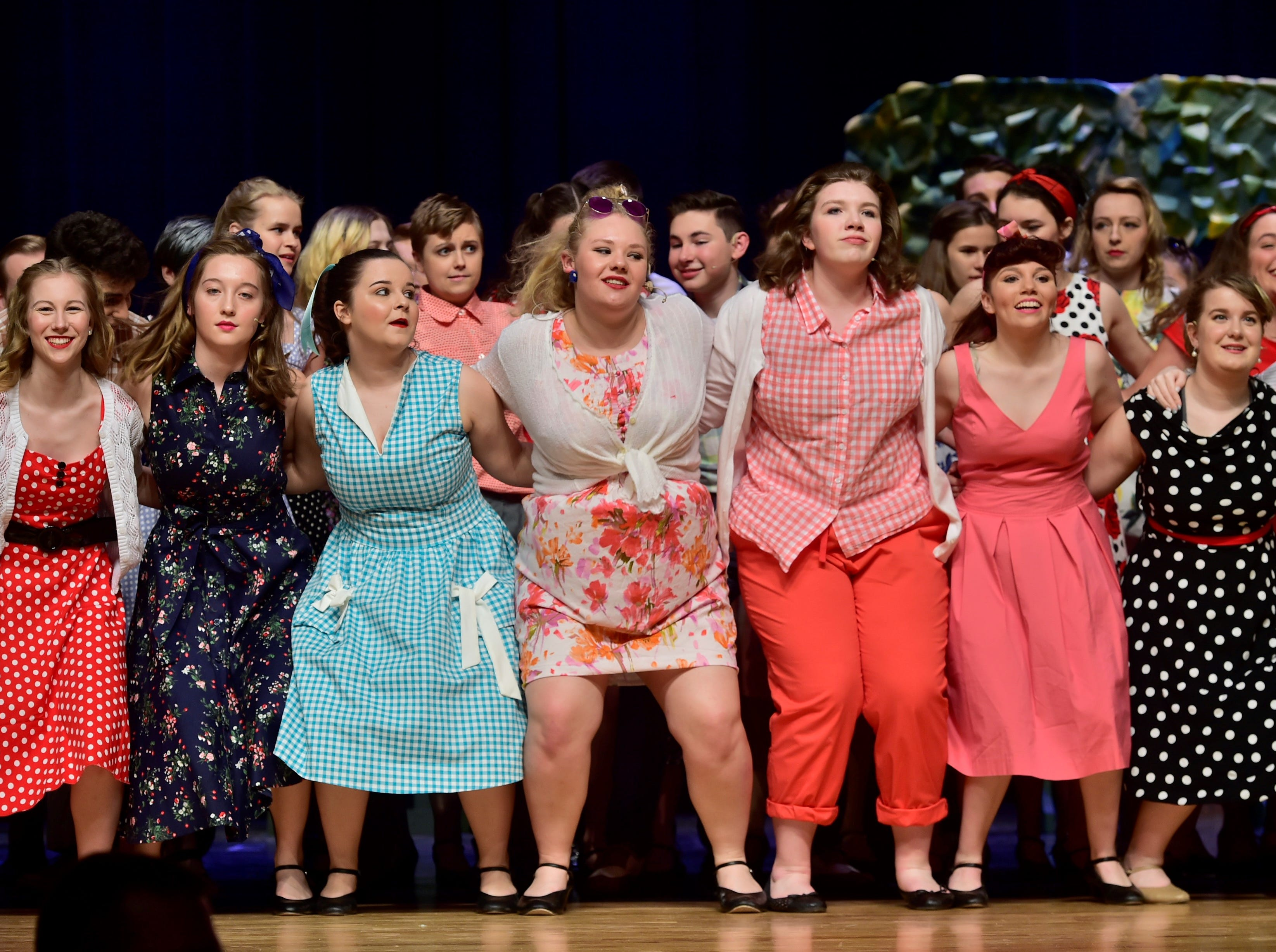 """Cast members rehearse a dance number from """"The Pajama Game,"""" on Sunday, March 10, 2019, at Waynesboro Area Senior High School. The musical, based on the 1953 novel, """"7 1/2 Cents"""" by Richard Bissell, tells the story of a pajama factory where workers are fighting for a raise of 7 1/2 cents. Showtimes for Waynesboro Area School District's All-School Production of """"The Pajama Game"""" are 7 p.m. Friday and Saturday, March 15 and 16, and 2 p.m. Sunday, March 17 in the high school auditorium. For choose-your-seat tickets, $10 for adults and $6 for children under 12, go to https://washsmusic.ticketleap.com/the-pajama-game/. General admission tickets will also be sold at the door."""