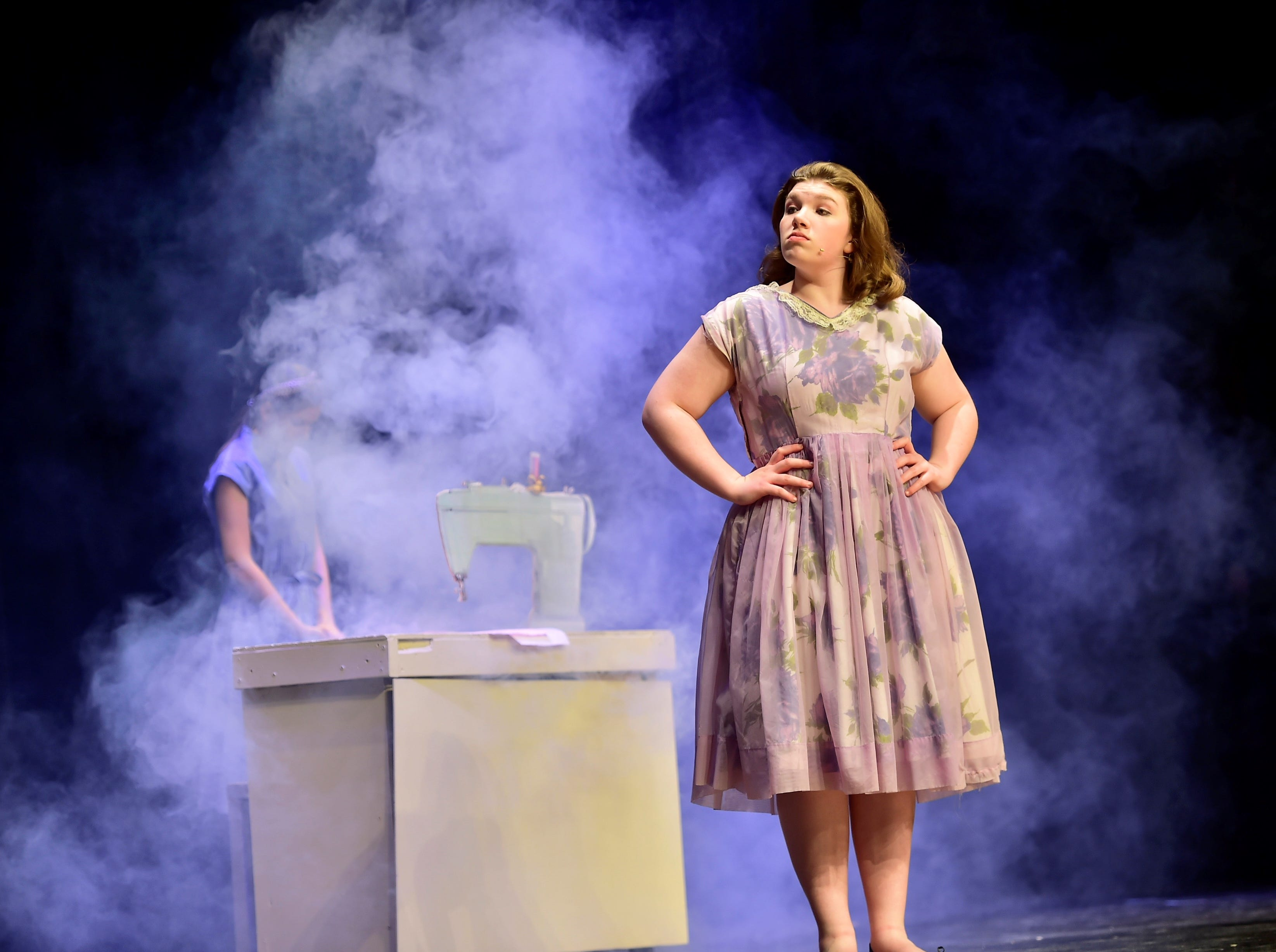 """Taylor Stevens (Babe) stares down her supervisor after a sewing-machine mishap, while rehearsing a scene from """"The Pajama Game,"""" on Sunday, March 10, 2019, at Waynesboro Area Senior High School. The musical, based on the 1953 novel, """"7 1/2 Cents"""" by Richard Bissell, tells the story of a pajama factory where workers are fighting for a raise of 7 1/2 cents. Showtimes for Waynesboro Area School District's All-School Production of """"The Pajama Game"""" are 7 p.m. Friday and Saturday, March 15 and 16, and 2 p.m. Sunday, March 17 in the high school auditorium. For choose-your-seat tickets, $10 for adults and $6 for children under 12, go to https://washsmusic.ticketleap.com/the-pajama-game/. General admission tickets will also be sold at the door."""