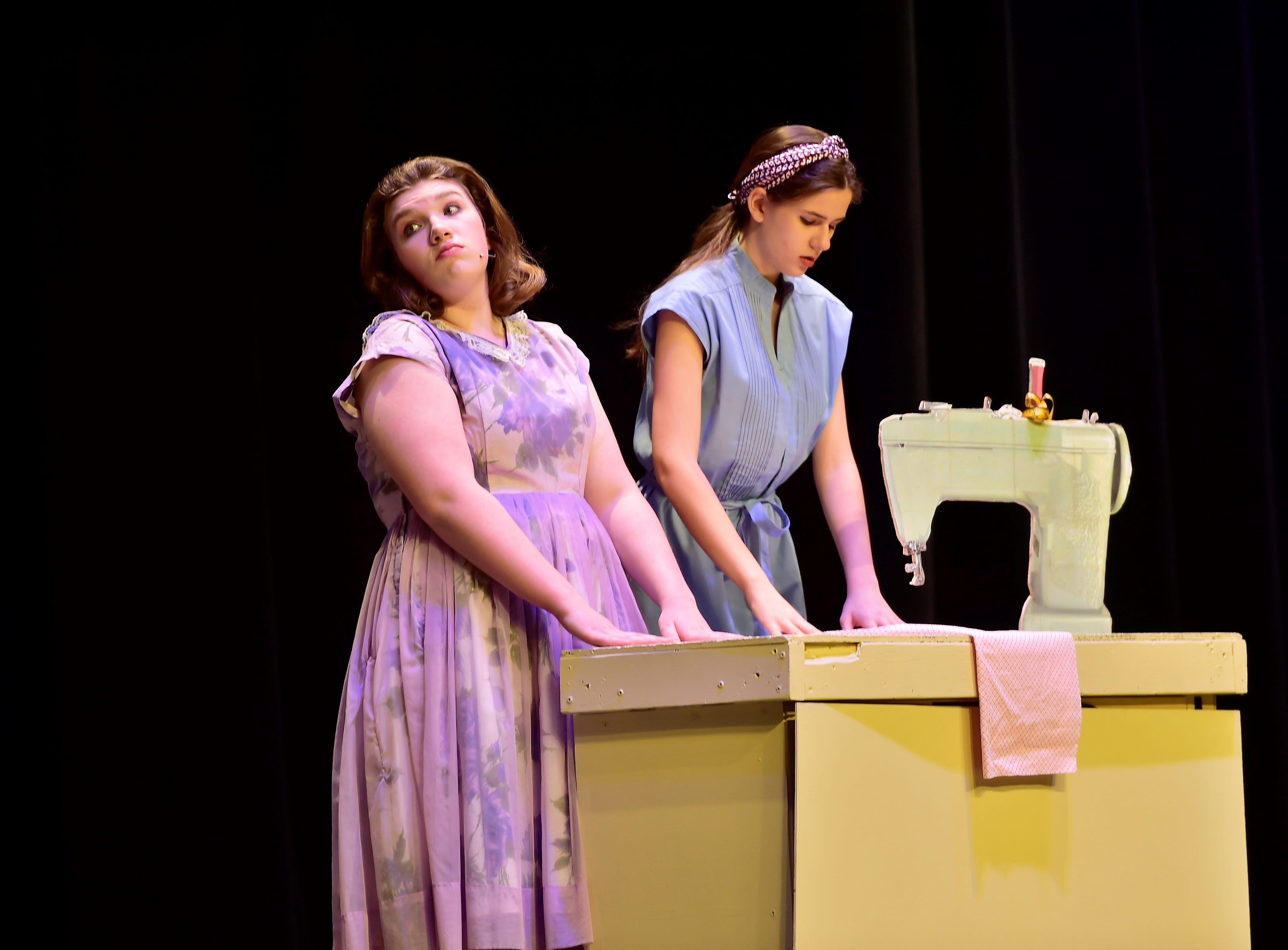 """Taylor Stevens (Babe), left, and Trinity Dant, rehearse a scene  from """"The Pajama Game,"""" on Sunday, March 10, 2019, at Waynesboro Area Senior High School. The musical, based on the 1953 novel, """"7 1/2 Cents"""" by Richard Bissell, tells the story of a pajama factory where workers are fighting for a raise of 7 1/2 cents. Showtimes for Waynesboro Area School District's All-School Production of """"The Pajama Game"""" are 7 p.m. Friday and Saturday, March 15 and 16, and 2 p.m. Sunday, March 17 in the high school auditorium. For choose-your-seat tickets, $10 for adults and $6 for children under 12, go to https://washsmusic.ticketleap.com/the-pajama-game/. General admission tickets will also be sold at the door."""