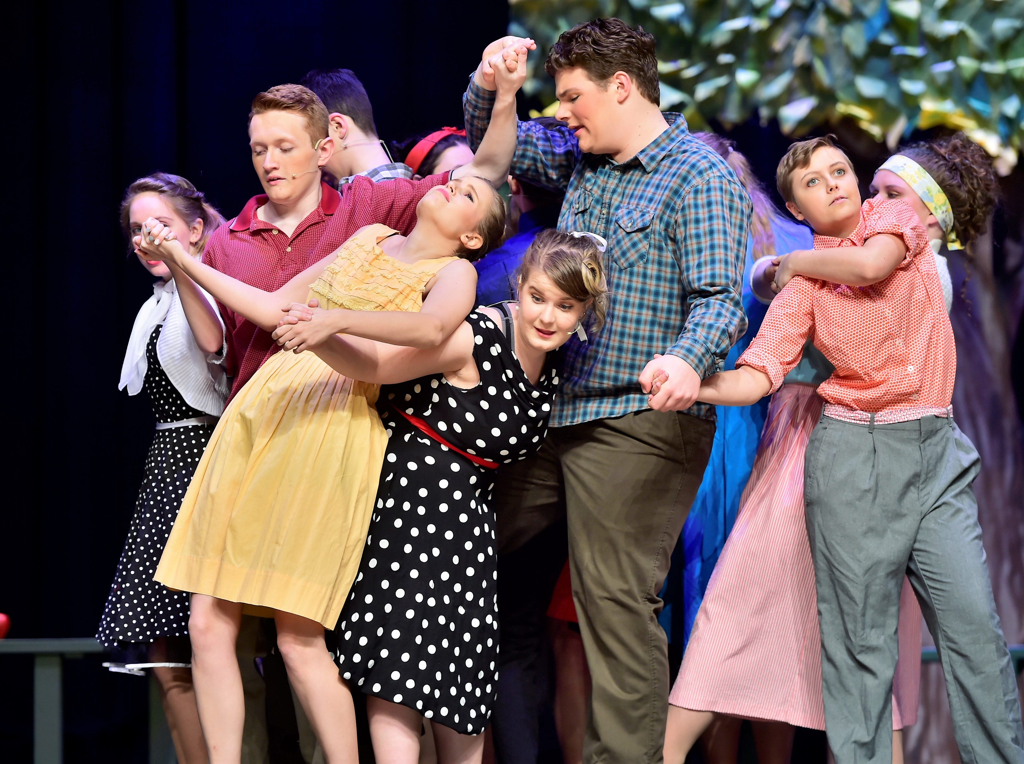"""Cast members tangle-up while rehearsing a dance number from """"The Pajama Game,"""" on Sunday, March 10, 2019, at Waynesboro Area Senior High School. The musical, based on the 1953 novel, """"7 1/2 Cents"""" by Richard Bissell, tells the story of a pajama factory where workers are fighting for a raise of 7 1/2 cents. Showtimes for Waynesboro Area School District's All-School Production of """"The Pajama Game"""" are 7 p.m. Friday and Saturday, March 15 and 16, and 2 p.m. Sunday, March 17 in the high school auditorium. For choose-your-seat tickets, $10 for adults and $6 for children under 12, go to https://washsmusic.ticketleap.com/the-pajama-game/. General admission tickets will also be sold at the door."""