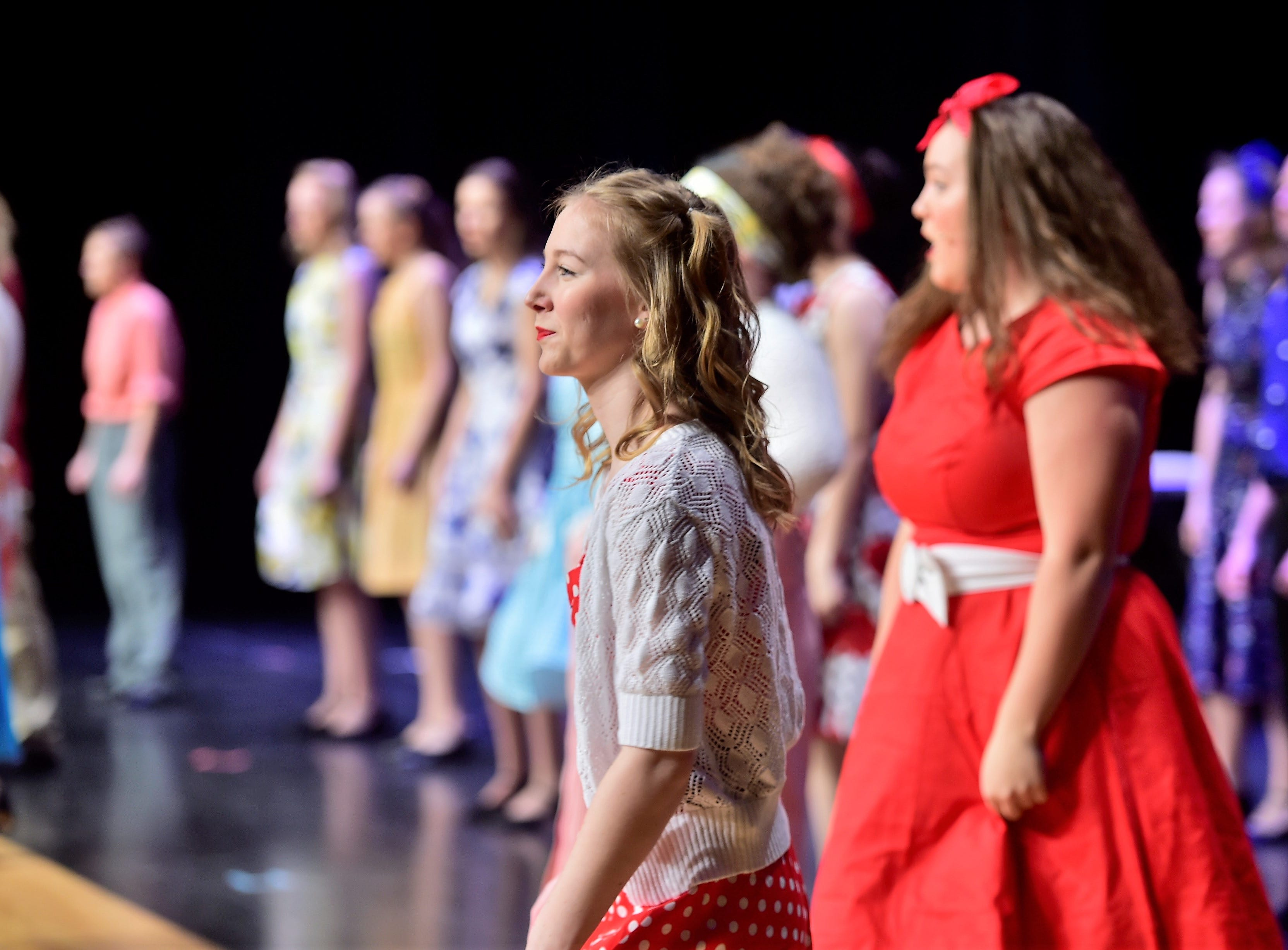 """Cast members rehearse a scene  from """"The Pajama Game,"""" on Sunday, March 10, 2019, at Waynesboro Area Senior High School. The musical, based on the 1953 novel, """"7 1/2 Cents"""" by Richard Bissell, tells the story of a pajama factory where workers are fighting for a raise of 7 1/2 cents. Showtimes for Waynesboro Area School District's All-School Production of """"The Pajama Game"""" are 7 p.m. Friday and Saturday, March 15 and 16, and 2 p.m. Sunday, March 17 in the high school auditorium. For choose-your-seat tickets, $10 for adults and $6 for children under 12, go to https://washsmusic.ticketleap.com/the-pajama-game/. General admission tickets will also be sold at the door."""