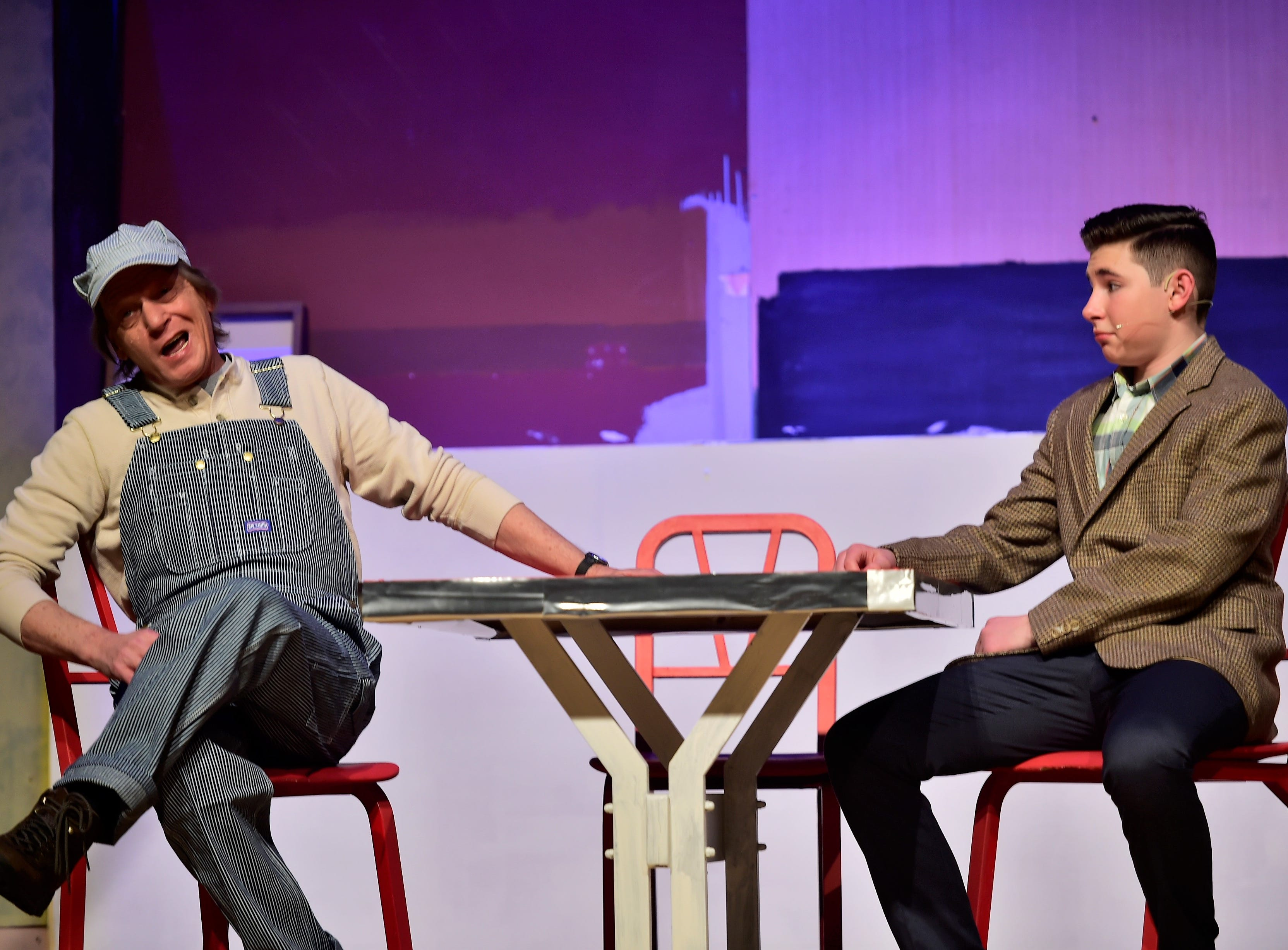 """Waynesboro teacher Gary Brett (Pops) and Jude Musolino (Sid Sorokin) rehearse a scene  from """"The Pajama Game,"""" on Sunday, March 10, 2019, at Waynesboro Area Senior High School. The musical, based on the 1953 novel, """"7 1/2 Cents"""" by Richard Bissell, tells the story of a pajama factory where workers are fighting for a raise of 7 1/2 cents. Showtimes for Waynesboro Area School District's All-School Production of """"The Pajama Game"""" are 7 p.m. Friday and Saturday, March 15 and 16, and 2 p.m. Sunday, March 17 in the high school auditorium. For choose-your-seat tickets, $10 for adults and $6 for children under 12, go to https://washsmusic.ticketleap.com/the-pajama-game/. General admission tickets will also be sold at the door."""