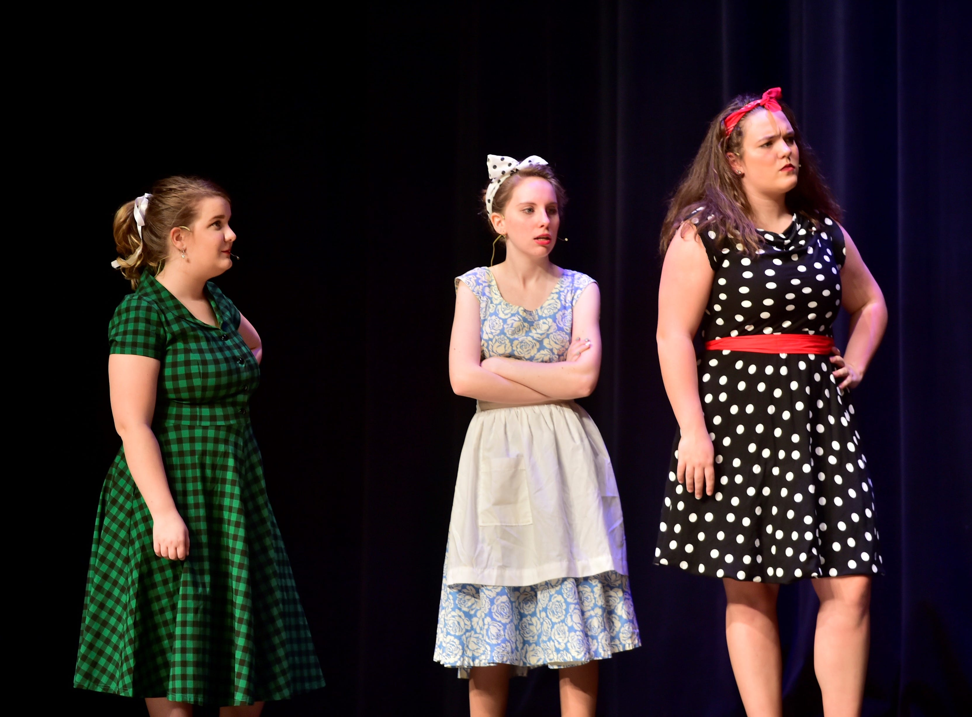 """From left, Kelsey Rook (Poopsie), Christina Bond (Mae) and Olivia Policicchio (Brenda) rehearse a scene from """"The Pajama Game,"""" on Sunday, March 10, 2019, at Waynesboro Area Senior High School. The musical, based on the 1953 novel, """"7 1/2 Cents"""" by Richard Bissell, tells the story of a pajama factory where workers are fighting for a raise of 7 1/2 cents. Showtimes for Waynesboro Area School District's All-School Production of """"The Pajama Game"""" are 7 p.m. Friday and Saturday, March 15 and 16, and 2 p.m. Sunday, March 17 in the high school auditorium. For choose-your-seat tickets, $10 for adults and $6 for children under 12, go to https://washsmusic.ticketleap.com/the-pajama-game/. General admission tickets will also be sold at the door."""