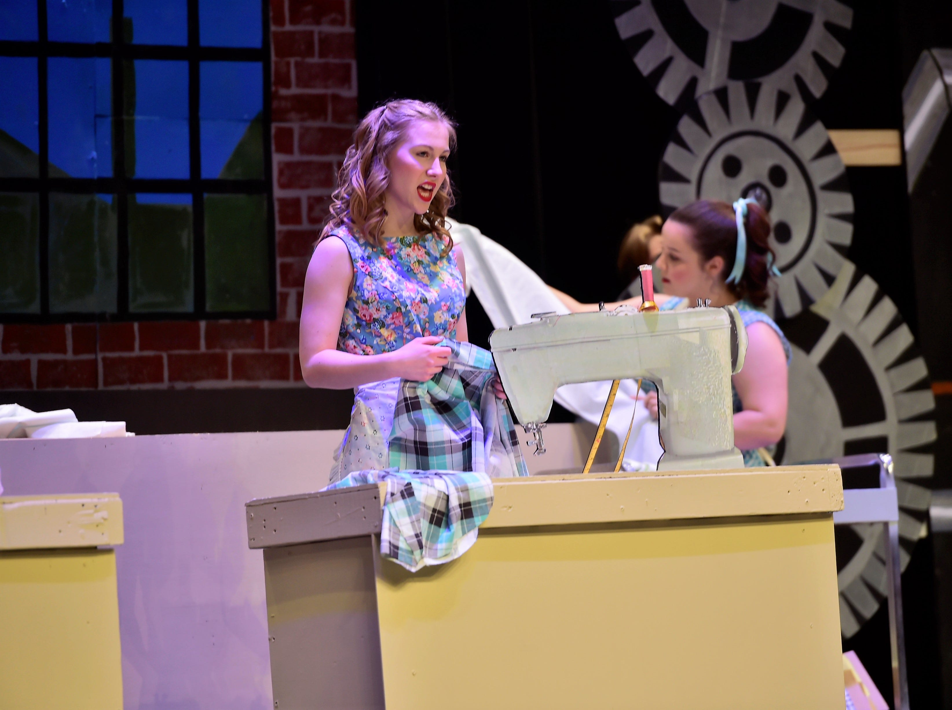 """Portraying workers in a pajama factory, two girls rehearse a scene  from """"The Pajama Game,"""" on Sunday, March 10, 2019, at Waynesboro Area Senior High School. The musical, based on the 1953 novel, """"7 1/2 Cents"""" by Richard Bissell, tells the story of a pajama factory where workers are fighting for a raise of 7 1/2 cents. Showtimes for Waynesboro Area School District's All-School Production of """"The Pajama Game"""" are 7 p.m. Friday and Saturday, March 15 and 16, and 2 p.m. Sunday, March 17 in the high school auditorium. For choose-your-seat tickets, $10 for adults and $6 for children under 12, go to https://washsmusic.ticketleap.com/the-pajama-game/. General admission tickets will also be sold at the door."""
