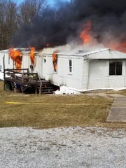 A fire destroyed a mobile home in Dover Township Monday, March 11. Photo courtesy of Northern York County Regional Police.