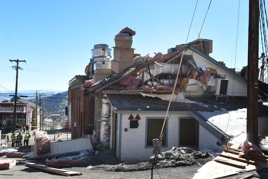 The damage from an explosion at the historic Delta Saloon in Virginia City on March 12, 2019. One person inside the building at the time of the explosion was not hurt.