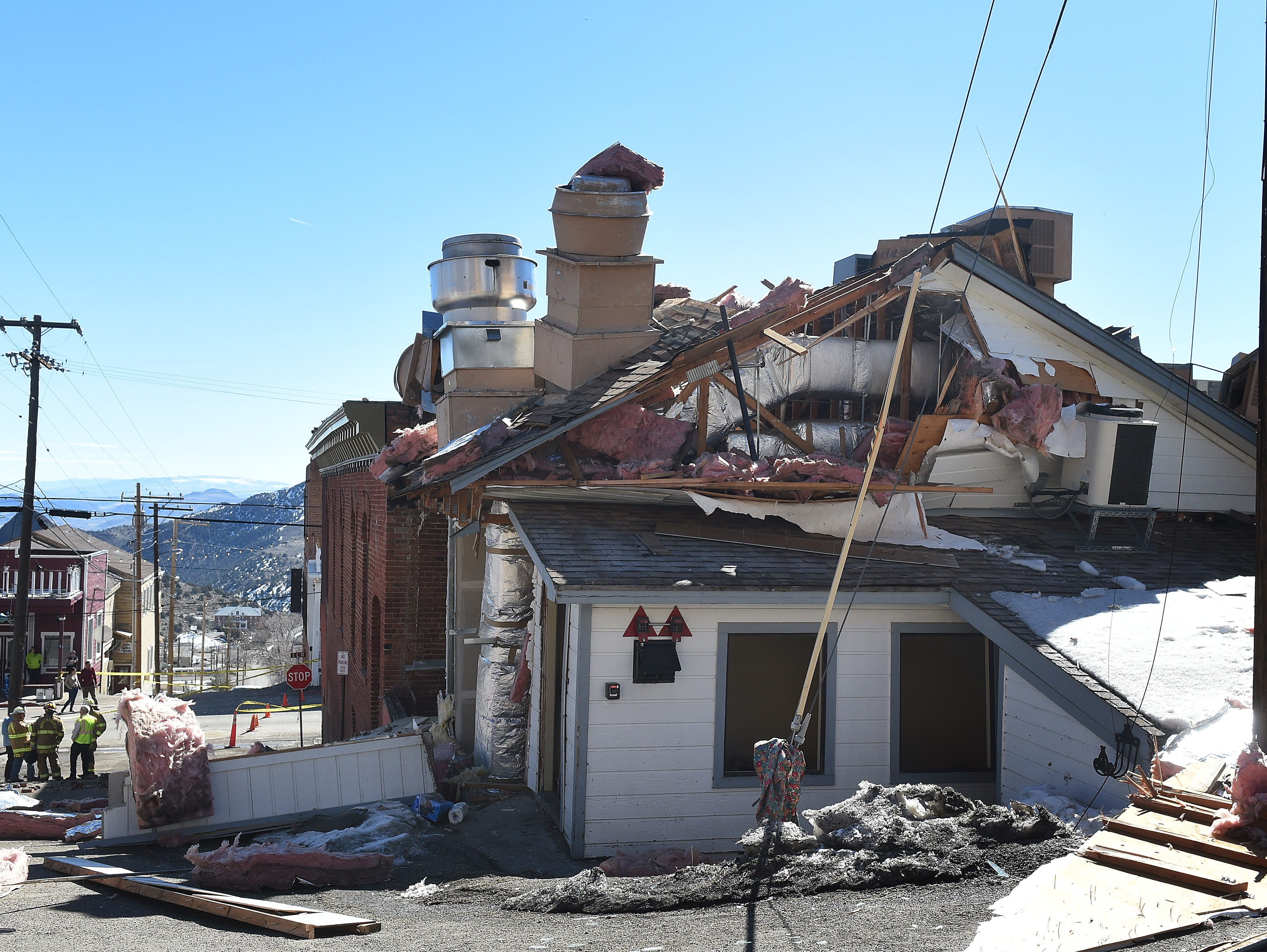 The damage is seen from an explosion at the historic Delta Saloon in Virginia City on March 12, 2019. One employee was in the building at the time of the explosion was not hurt.