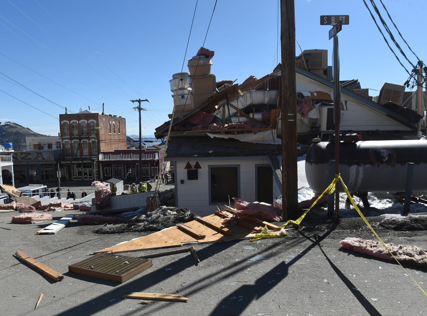 An explosion damages the historic Delta Saloon in Virginia City on March 12, 2019.