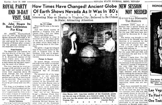 Ty Cobb details the history of the James G. Fair globe in the June 18, 1939 edition of the Nevada State Journal.