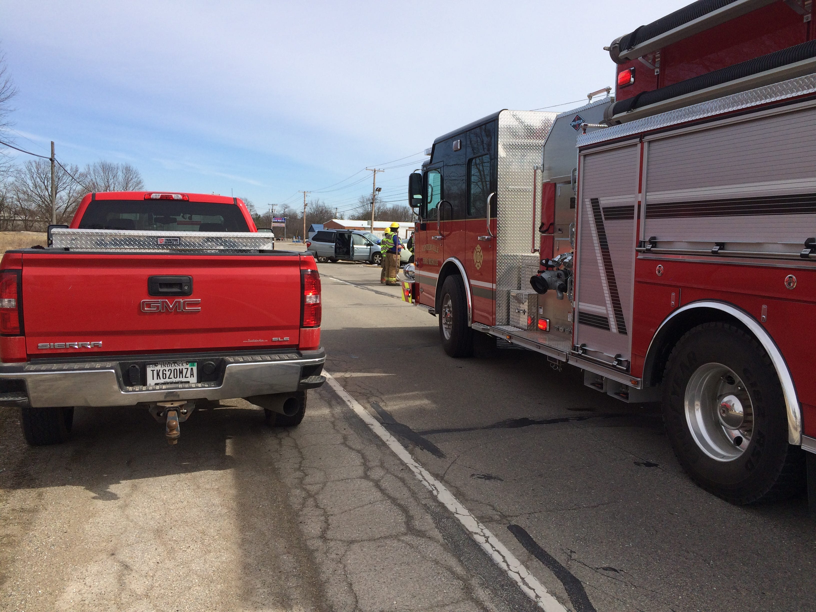 Rescue personnel worked at an accident Tuesday in the 3900 block of National Road West.