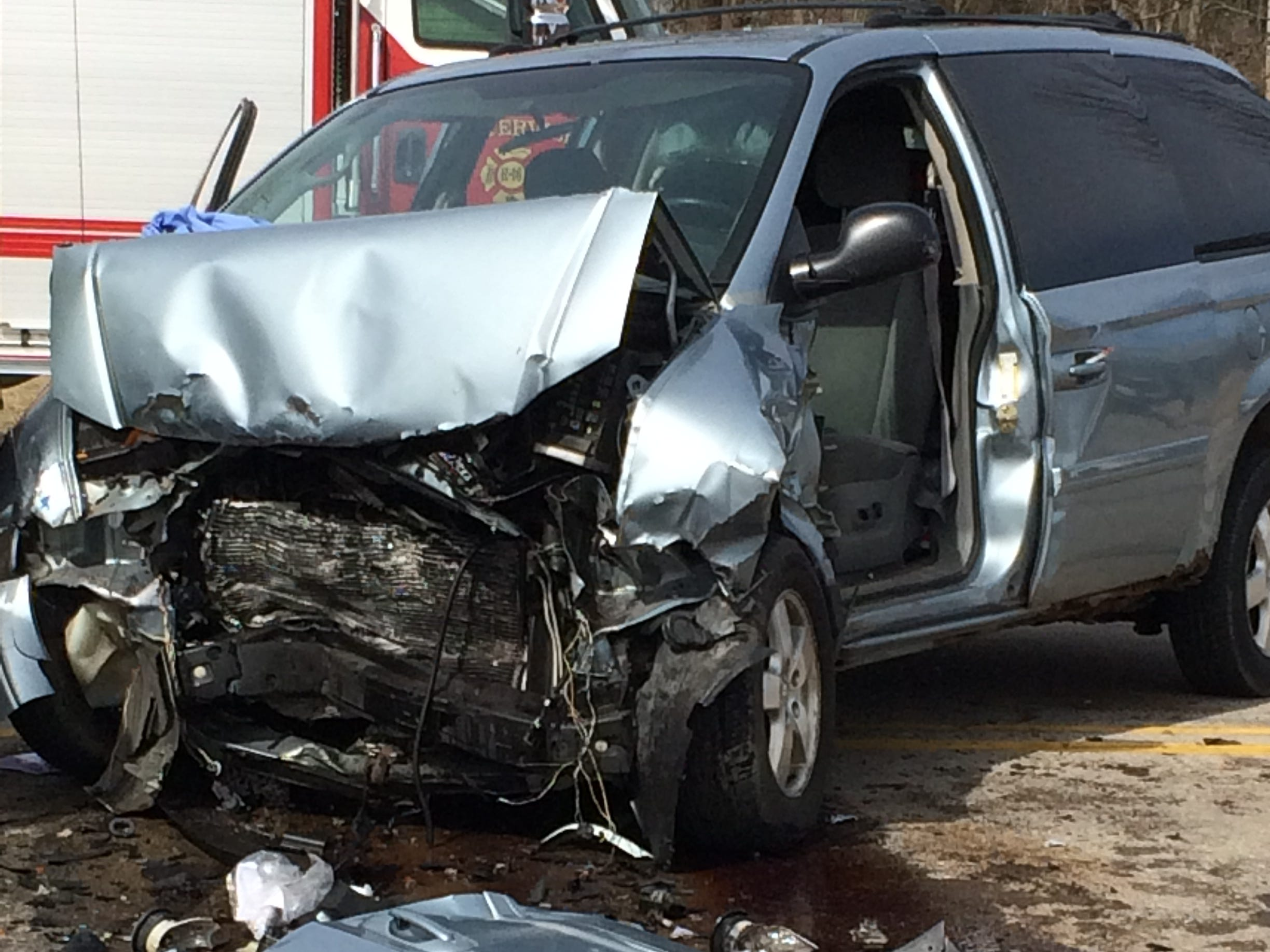 A Dodge Grand Caravan was severely damaged Tuesday during an accident in the 3900 block of National Road West.
