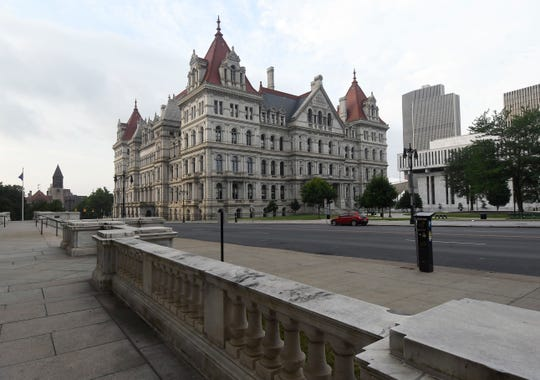 Exterior view of the New York state Capitol Tuesday, July 17, 2018, in Albany, N.Y. (AP Photo/Hans Pennink)