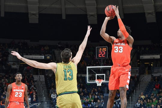 Syracuse forward Elijah Hughes shoots over Notre Dame guard Nikola Djogo during a game earlier this season. Hughes did not score in the season finale at Clemson.s