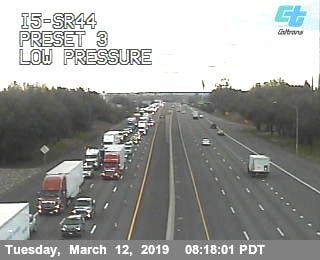 Traffic was backed up on Interstate 5 around 8 a.m. Tuesday due to Caltrans maintenance work near the Highway 44 eastbound on-ramp.