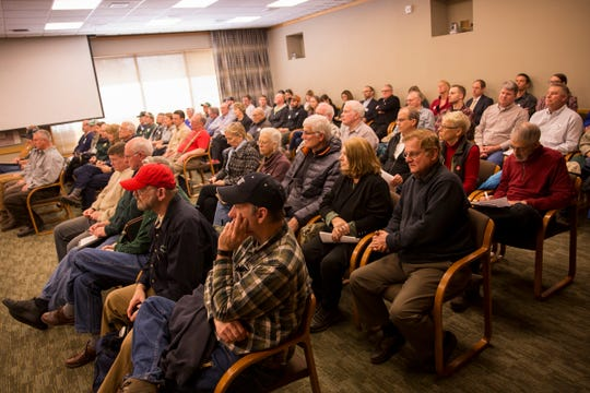 Proponents and opponents of a bill that would ban clear-cuts, chemicals and new logging roads on private forestland at the Oregon State Capitol in Salem on Tuesday, March 12, 2019.