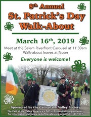 "The Céilí of the Valley Society will celebrate St. Patrick's Day with a ""walk-about"" in downtown Salem on March 16."