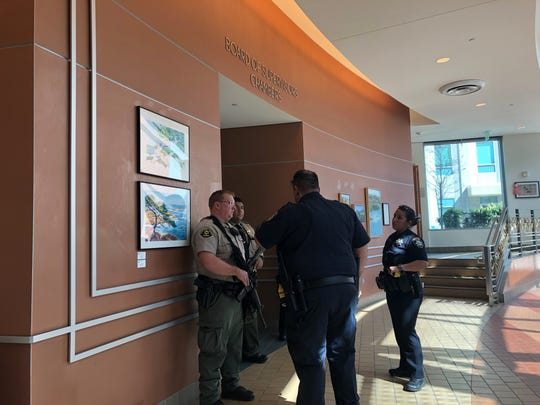 Authorities provide security Tuesday after bomb and shooting threats were made to the Salinas courthouse.