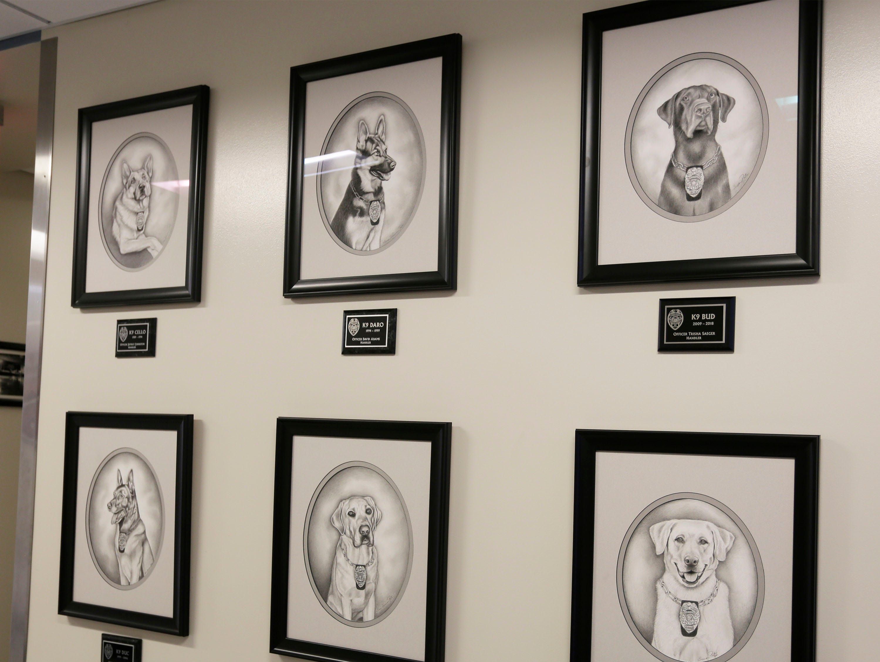 A wall at the Sheboygan Police Department has line portraits of the police dogs that have served through the years in the department's K-9 unit, as seen, Wednesday, March 6, 2019, in Sheboygan, Wis.
