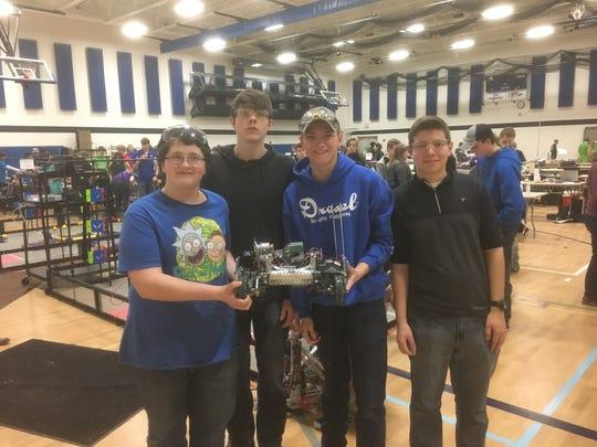 Carter Lutzke, Dakota Schmidt, Anthony Buechel and Sean Higgins comprise the Elkhart Lake-Glenbeulah High School robotics team.
