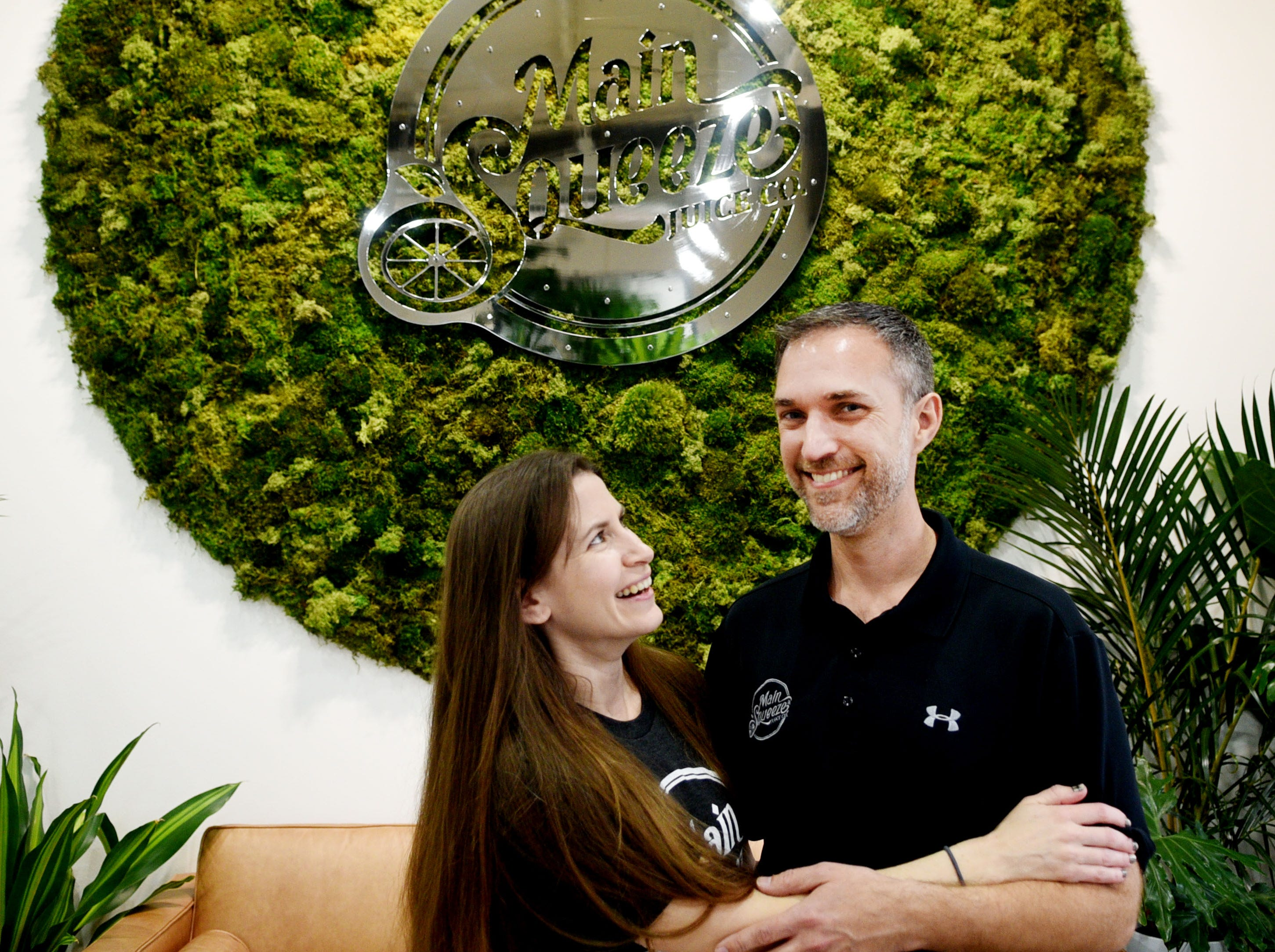 Main Squeeze Juice Co. on Airline Drive in Bossier City owner Kurt Nixon and his wife, Caroline.