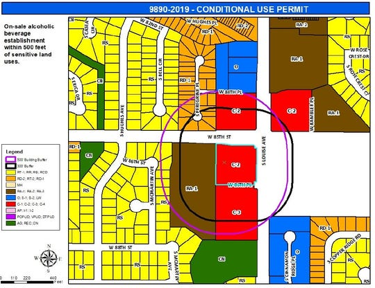 A zoning map showing the parcel where a casino would go at the intersection of 85th Street and Louise Avenue.