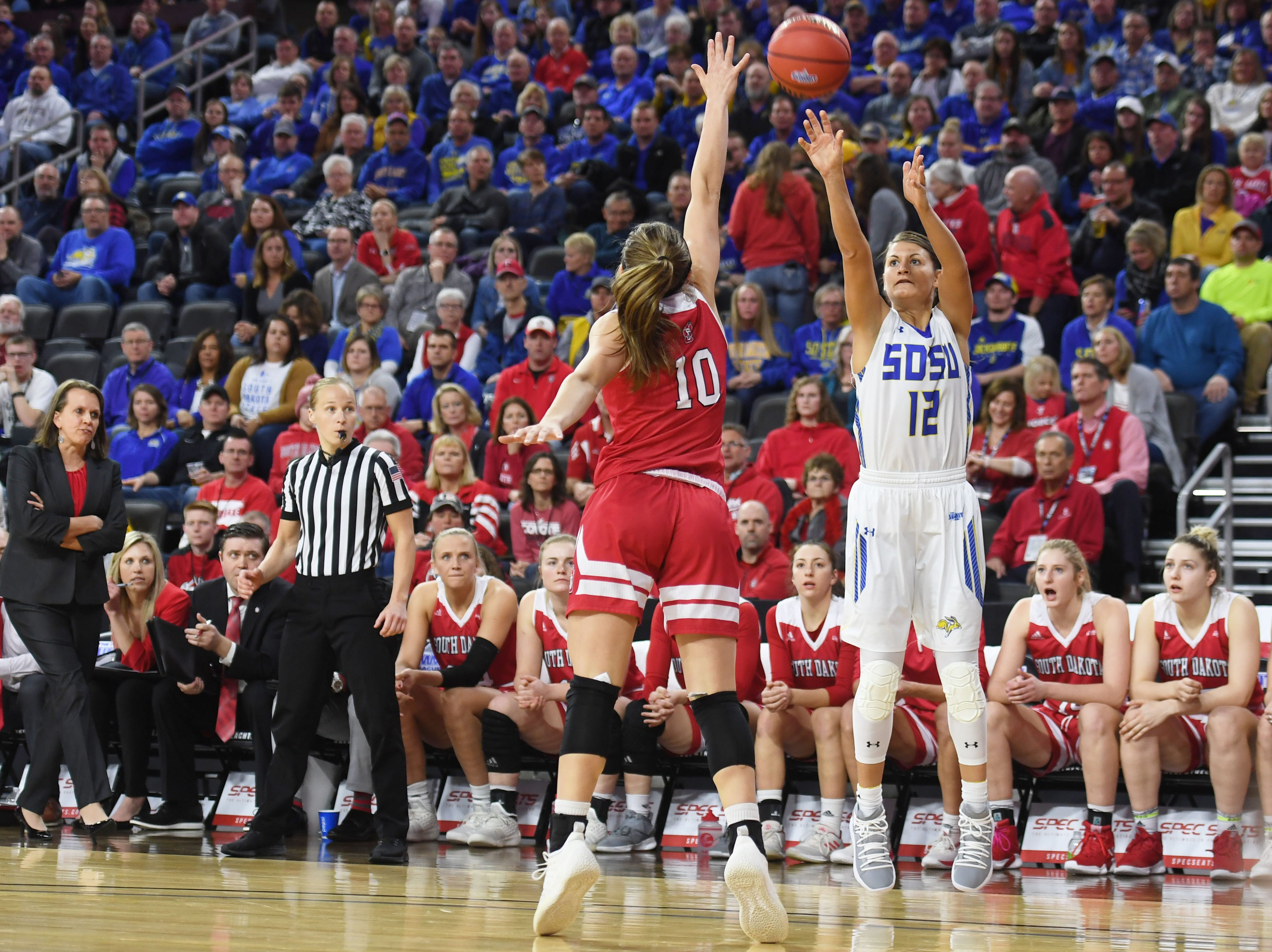 SDSU's Macy Miller takes a shot against USD's Allison Arens during the game Tuesday, March 12, in the Summit League women's championship at the Denny Sanford Premier Center in Sioux Falls.