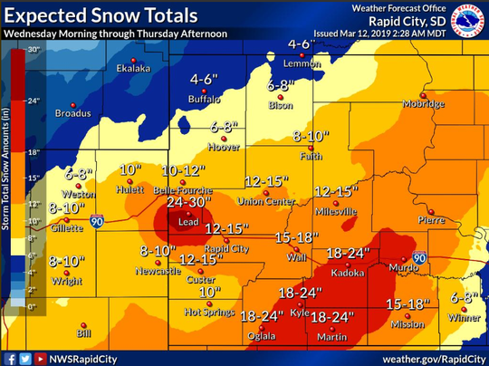 Snow totals could hit two feet in parts of central South Dakota.