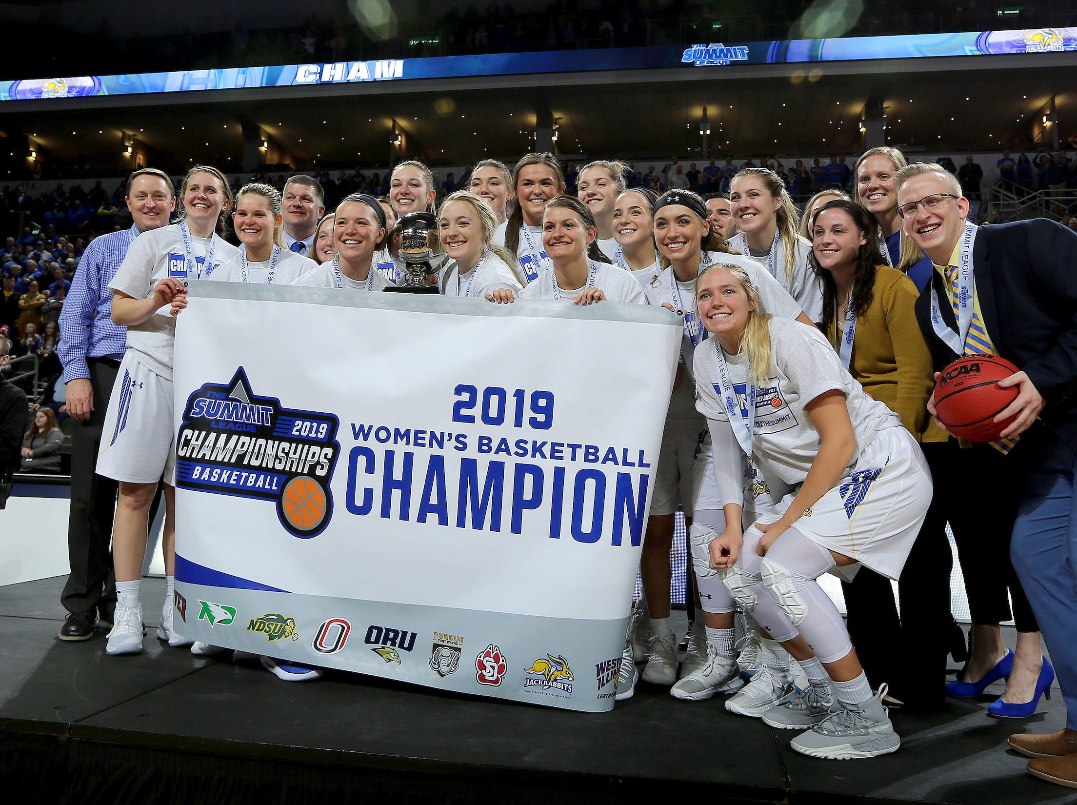 SIOUX FALLS, SD - MARCH 11: The South Dakota State women celebrate after winning the 2019 Summit League Title at the Denny Sanford Premier Center in Sioux Falls. (Photo by Dave Eggen/Inertia)