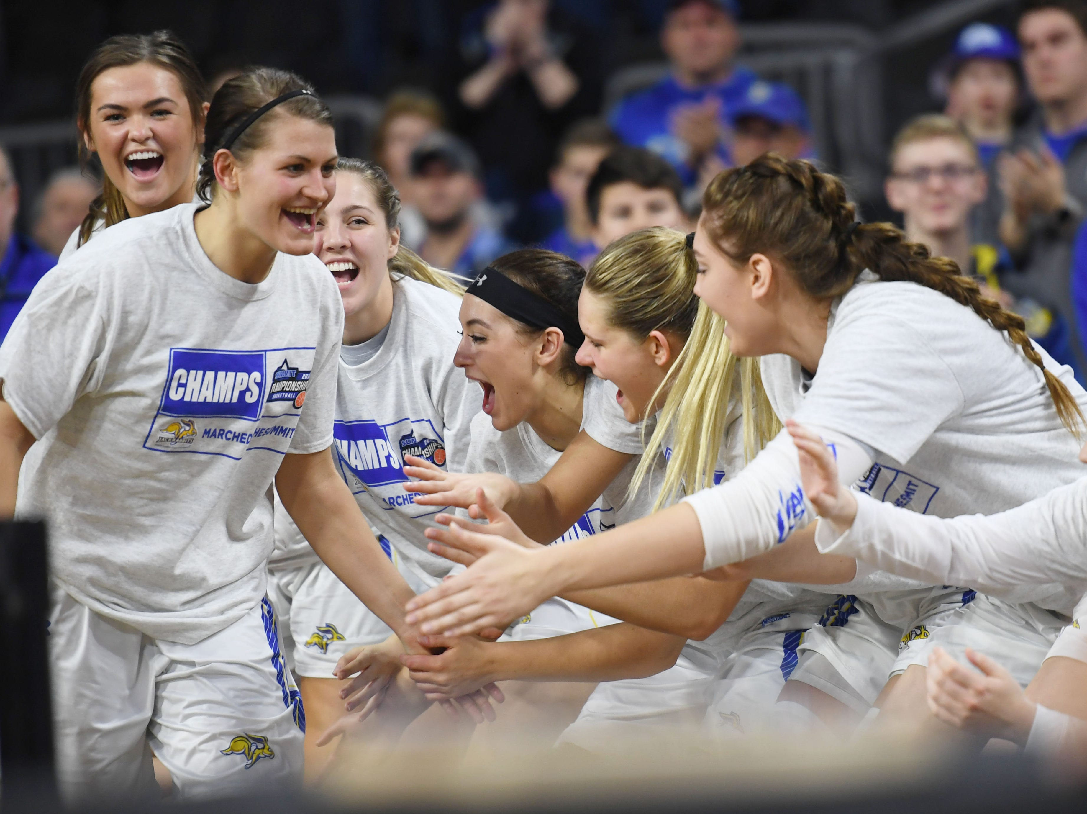 SDSU's Macy Miller is recognized after the game against USD Tuesday, March 12, in the Summit League women's championship at the Denny Sanford Premier Center in Sioux Falls.
