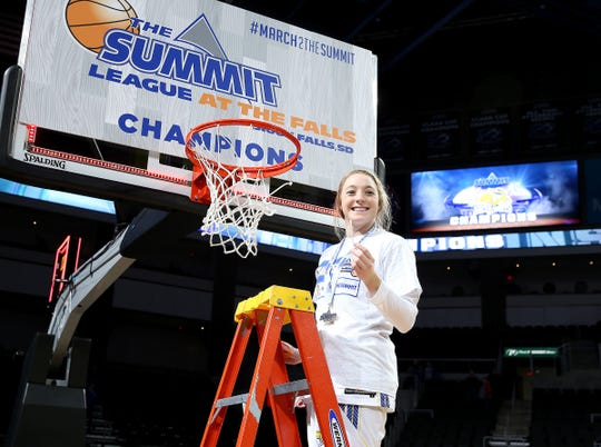 SIOUX FALLS, SD - MARCH 11: Madison Guebert of South Dakota State cuts the net at the 2019 Summit League Basketball Tournament at the Denny Sanford Premier Center in Sioux Falls. (Photo by Dave Eggen/Inertia)