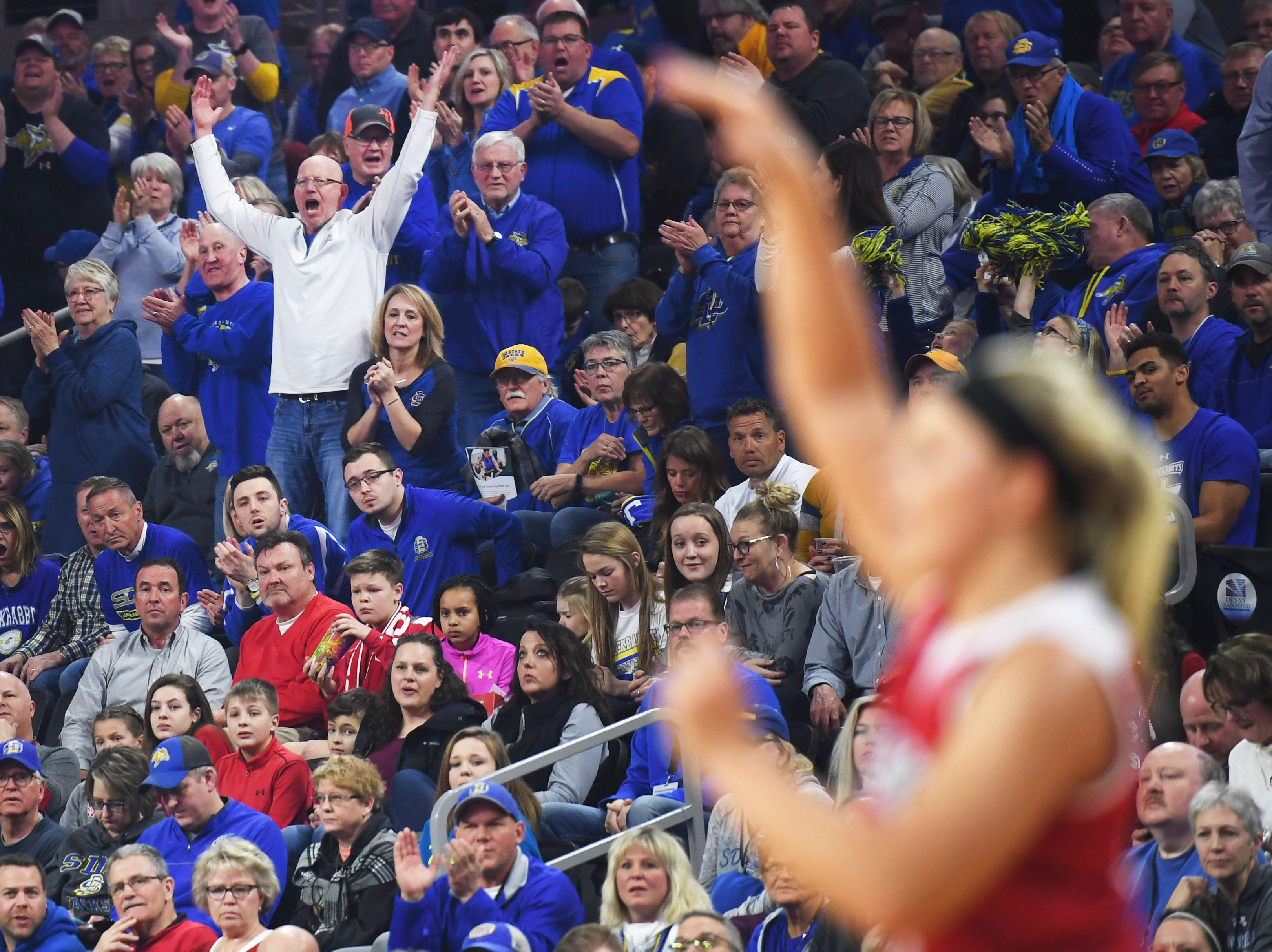 SDSU fans react during the game against USD Tuesday, March 12, in the Summit League women's championship at the Denny Sanford Premier Center in Sioux Falls.