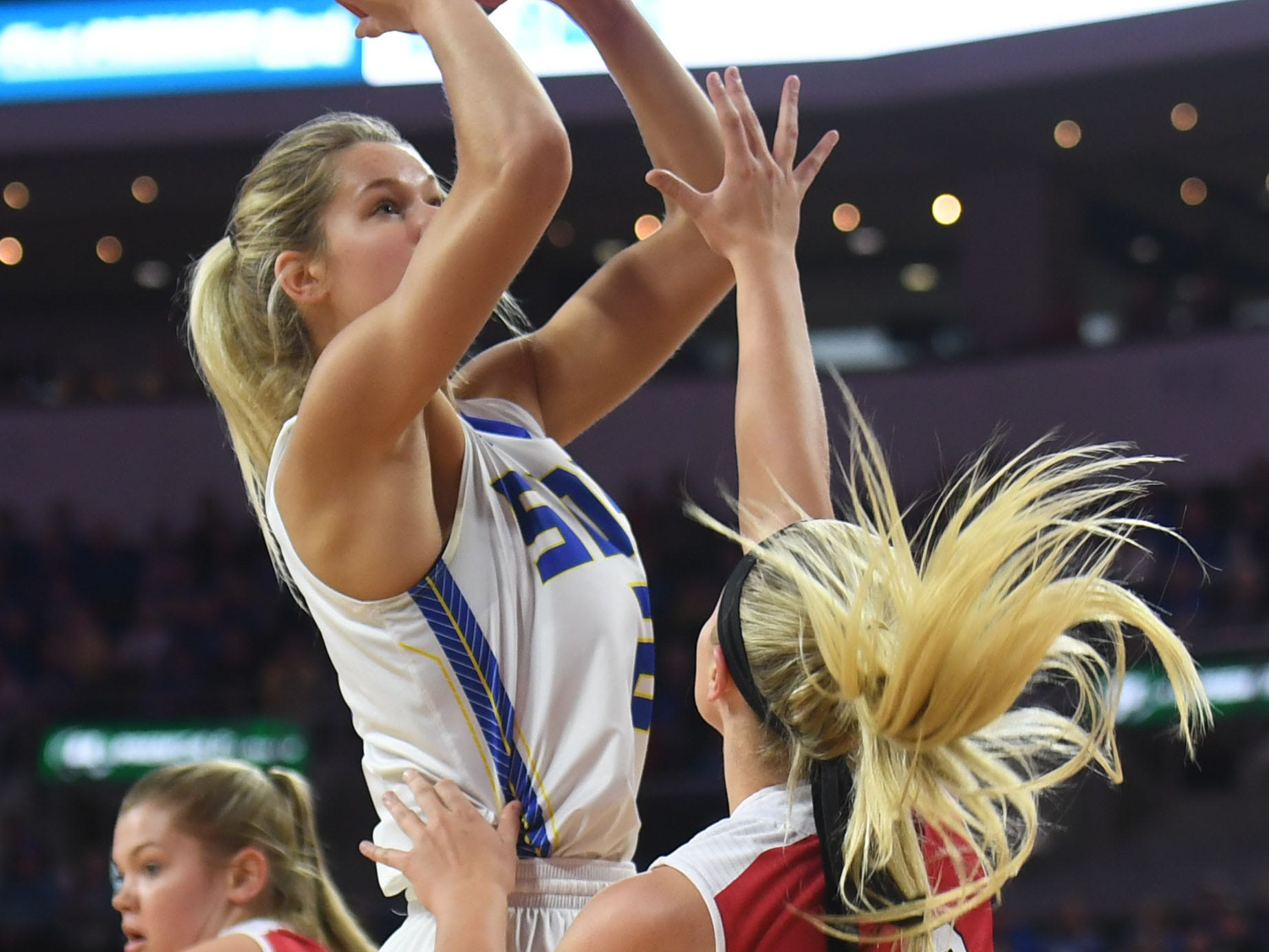 SDSU's Tylee Irwin takes a shot against USD during the game Tuesday, March 12, in the Summit League women's championship at the Denny Sanford Premier Center in Sioux Falls.