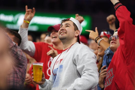 USD fans during the game against SDSU Tuesday, March 12, in the Summit League women's championship at the Denny Sanford Premier Center in Sioux Falls.