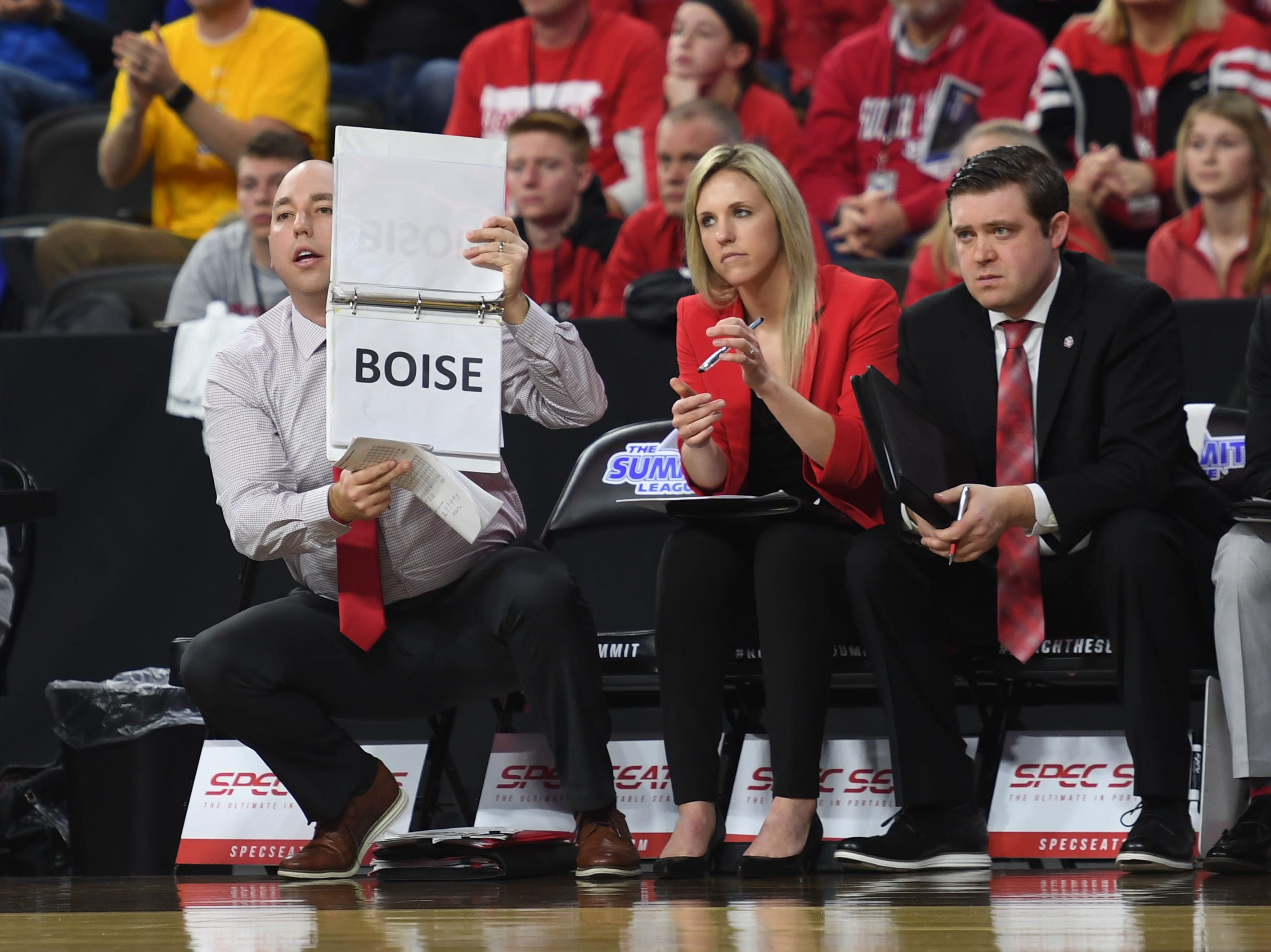 USD's sideline during the game against SDSU Tuesday, March 12, in the Summit League women's championship at the Denny Sanford Premier Center in Sioux Falls.