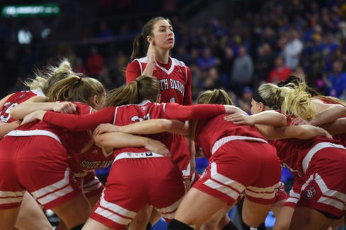 USD's Claudia Kunzer gets in a huddle with her team for the game against SDSU Tuesday, March 12, in the Summit League women's championship at the Denny Sanford Premier Center in Sioux Falls.