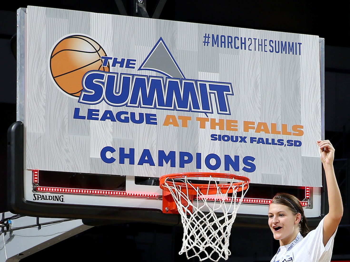 SIOUX FALLS, SD - MARCH 11: Macy Miller of South Dakota State sure the first piece of net at the 2019 Summit League Basketball Tournament at the Denny Sanford Premier Center in Sioux Falls. (Photo by Dave Eggen/Inertia)
