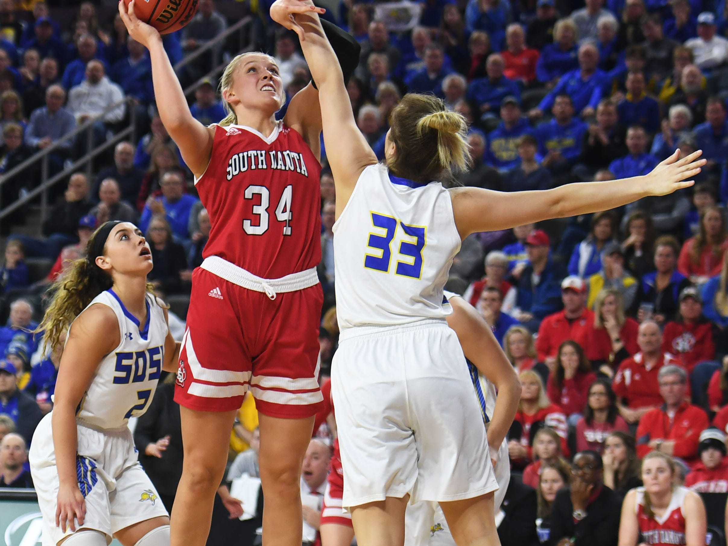 USD's Hannah Sjerven goes against SDSU's Paiton Burckhard during the game Tuesday, March 12, in the Summit League women's championship at the Denny Sanford Premier Center in Sioux Falls.