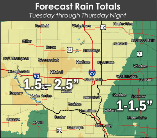 Rain totals could reach 1 to 2 inches in Sioux Falls Wednesday.