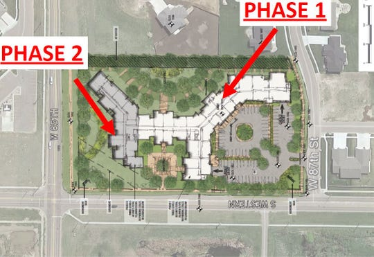 Design plans provided to the Sioux Falls Planning Commission shows a proposal to develop the southeastern corner of 85th Street and Western Avenue into a three-story senior living campus.