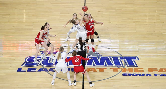 SIOUX FALLS, SD - MARCH 11: Tipoff at of the 2019 Summit League Basketball Championship between South Dakota and South Dakota State at the Denny Sanford Premier Center in Sioux Falls. (Photo by Dick Carlson/Inertia)