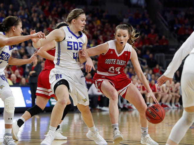 SIOUX FALLS, SD - MARCH 11: Ciara Duffy #24 of South Dakota backs into Myah Selland #44 from South Dakota State at the 2019 Summit League Basketball Tournament at the Denny Sanford Premier Center in Sioux Falls. (Photo by Dick Carlson/Inertia)