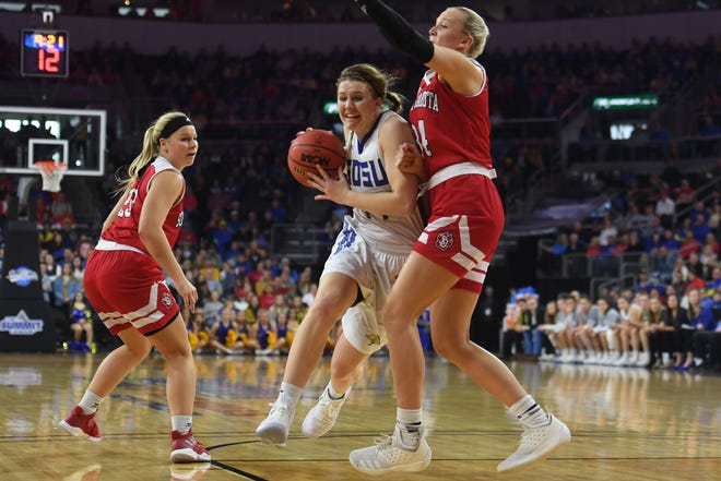 SDSU's Myah Selland takes a shot against USD defense during the game Tuesday, March 12, in the Summit League women's championship at the Denny Sanford Premier Center in Sioux Falls.