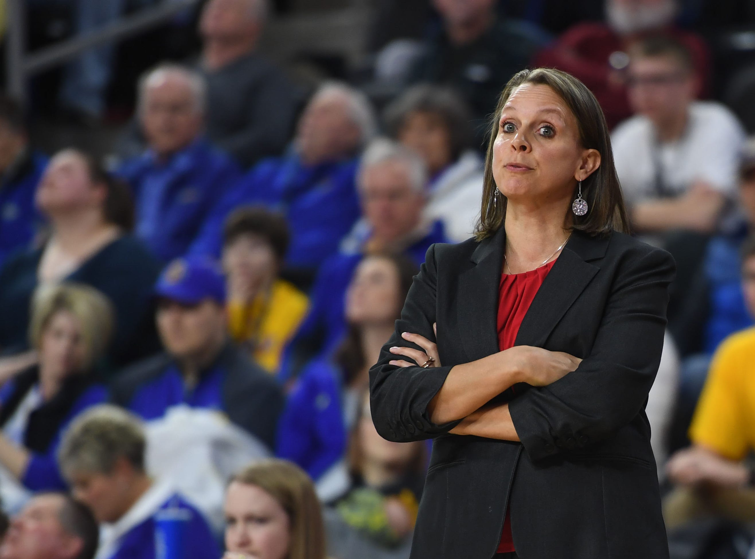 USD's head coach Dawn Plitzuweit during the game against SDSU Tuesday, March 12, in the Summit League women's championship at the Denny Sanford Premier Center in Sioux Falls.