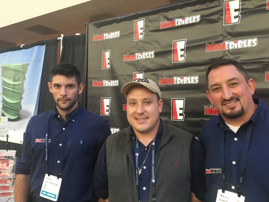 On March 11, 2019, Ian Armstrong, consultant; Christopher Cross, CEO; and Jarrod Smiley, national sales director, worked their booth for Infused Edibles and Branson-based Ozarks Quality Products at a medical marijuana trade show in St. Louis.